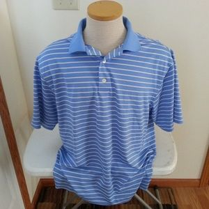 Footjoy polo blue & white stripe polo - mens med